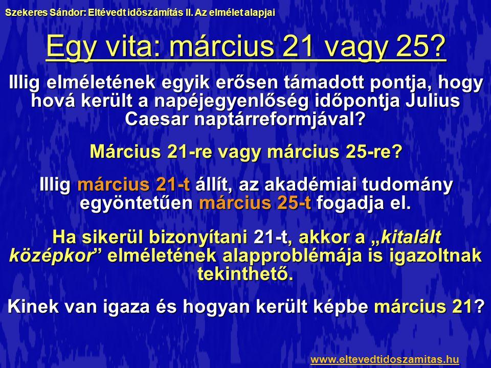 Egy vita: március 21 vagy 25? Illig elméletének egyik erősen támadott pontja, hogy hová került a napéjegyenlőség időpontja Julius Caesar naptárreformj