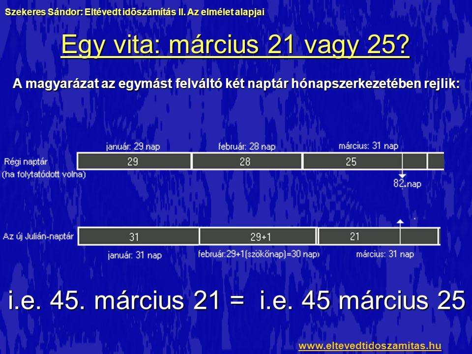 Egy vita: március 21 vagy 25? i.e. 45. március 21 = i.e. 45 március 25 Szekeres Sándor: Eltévedt időszámítás II. Az elmélet alapjai www.eltevedtidosza