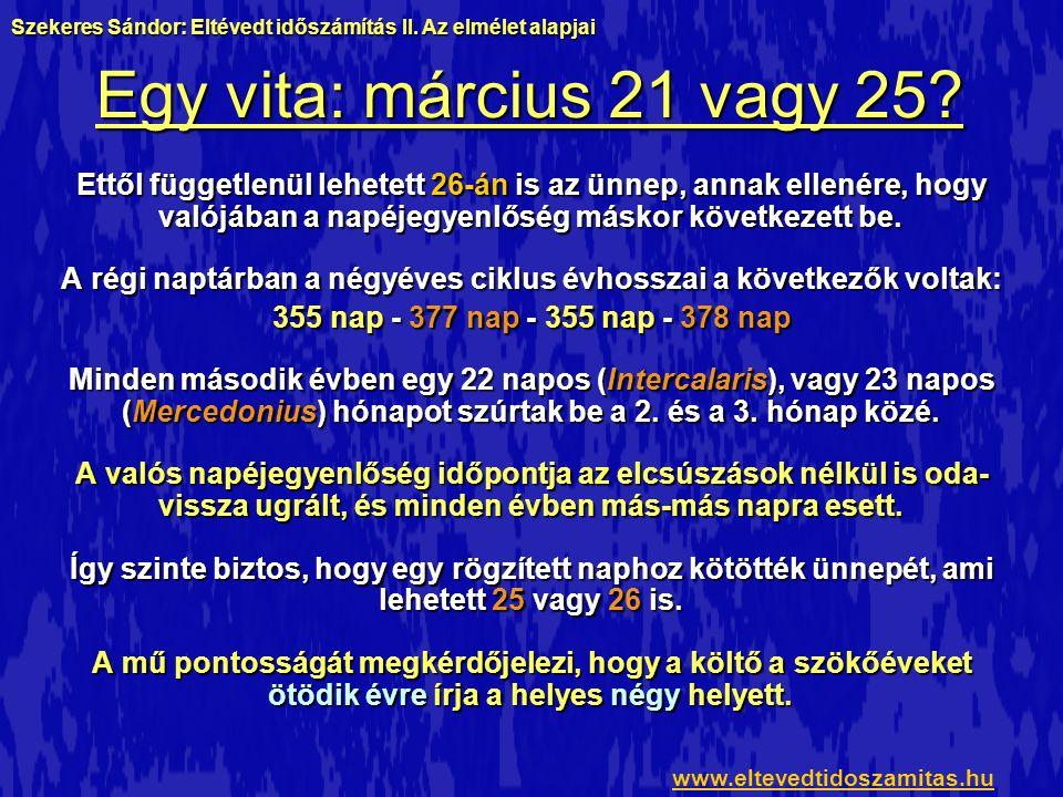 Egy vita: március 21 vagy 25? Ettől függetlenül lehetett 26-án is az ünnep, annak ellenére, hogy valójában a napéjegyenlőség máskor következett be. A