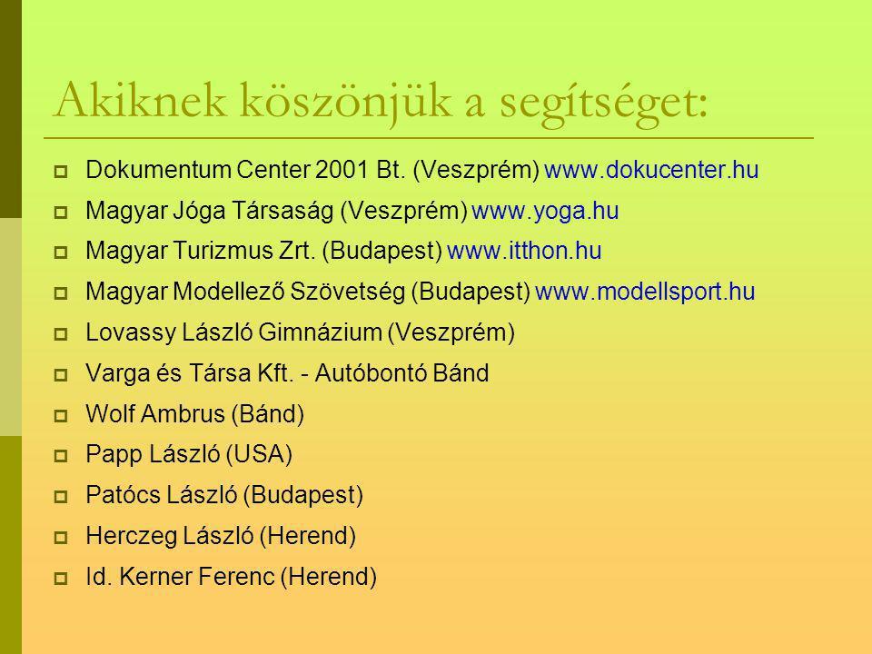 Akiknek köszönjük a segítséget: OOster Autóház Kft. (Veszprém) www.osterautohaz.hu HHerendi Porcelánmanufaktúra Zrt. www.herend.com SSportkört T