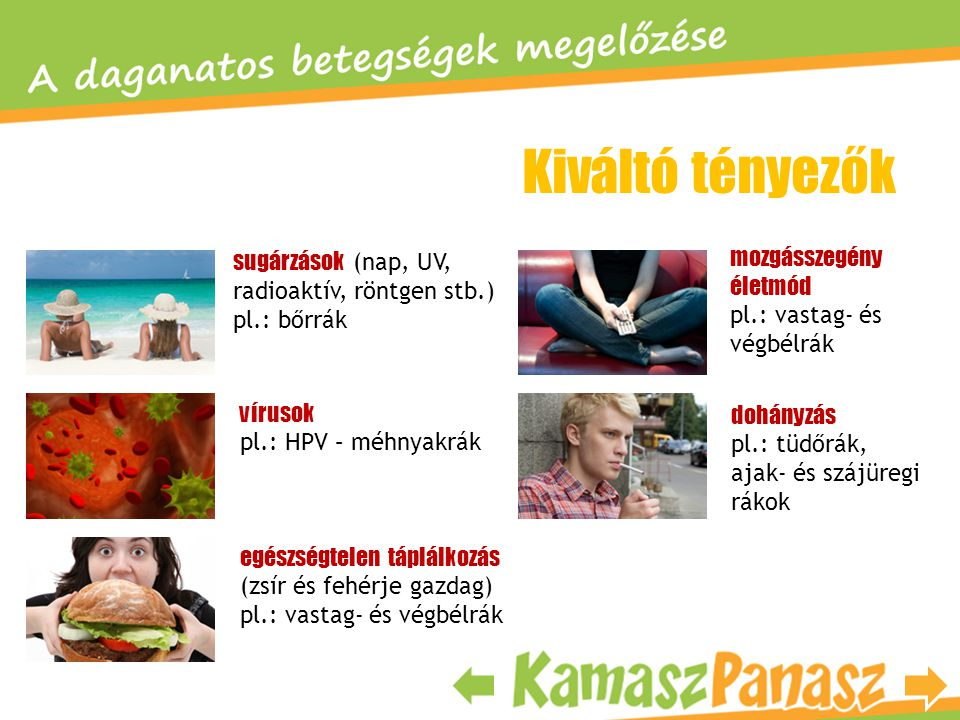 Kiváltó tényezők dohányzás pl.: tüdőrák, ajak- és szájüregi rákok sugárzások (nap, UV, radioaktív, röntgen stb.) pl.: bőrrák vírusok pl.: HPV – méhnya