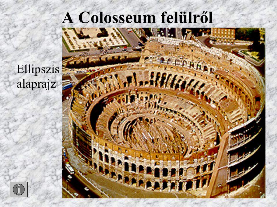 Cirkuszok Colosseum dór, ión, korinthoszi oszlopok emeletenként
