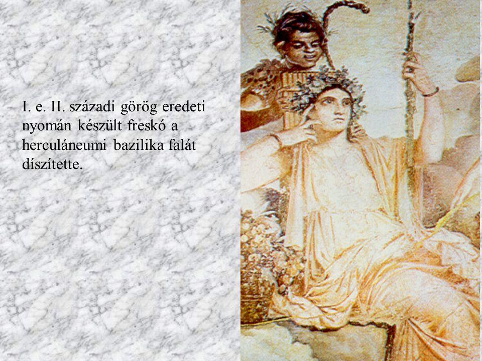 Házaspár portréja Pompeiből Az asszony klasszikus mozdulattal emeli ajkához az íróvesszőt, a tógába öltözött férfi egy tekercset tart a kezében.