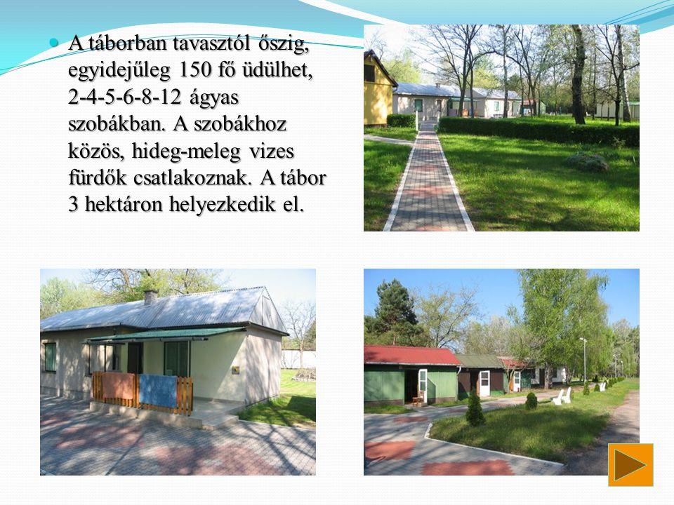  A táborban tavasztól őszig, egyidejűleg 150 fő üdülhet, 2-4-5-6-8-12 ágyas szobákban. A szobákhoz közös, hideg-meleg vizes fürdők csatlakoznak. A tá