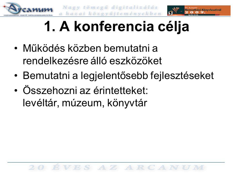 1. A konferencia célja •Működés közben bemutatni a rendelkezésre álló eszközöket •Bemutatni a legjelentősebb fejlesztéseket •Összehozni az érintetteke
