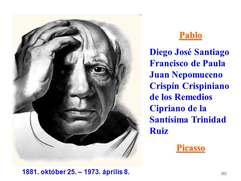 Pablo Diego José Santiago Francisco de Paula Juan Nepomuceno Crispín Crispiniano de los Remedios Cipriano de la Santísima Trinidad RuizPicasso 1881. o