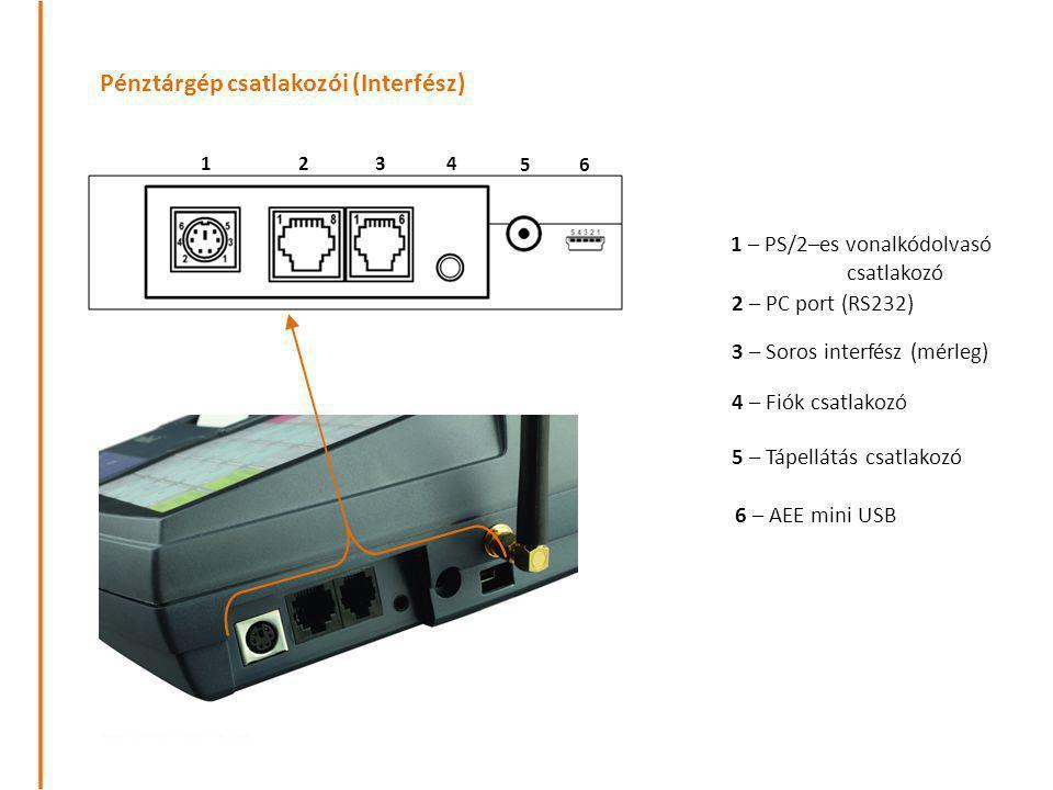 12 34 56 Pénztárgép csatlakozói (Interfész) 3 – Soros interfész (mérleg) 4 – Fiók csatlakozó 1 – PS/2–es vonalkódolvasó csatlakozó 6 – AEE mini USB 2