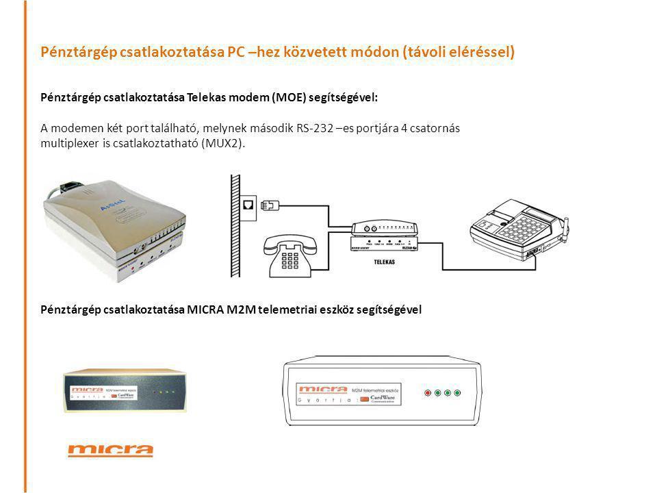 Pénztárgép csatlakoztatása PC –hez közvetett módon (távoli eléréssel) Pénztárgép csatlakoztatása Telekas modem (MOE) segítségével: A modemen két port