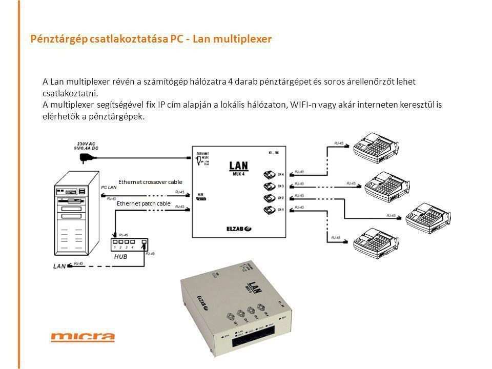 Pénztárgép csatlakoztatása PC - Lan multiplexer A Lan multiplexer révén a számítógép hálózatra 4 darab pénztárgépet és soros árellenőrzőt lehet csatla