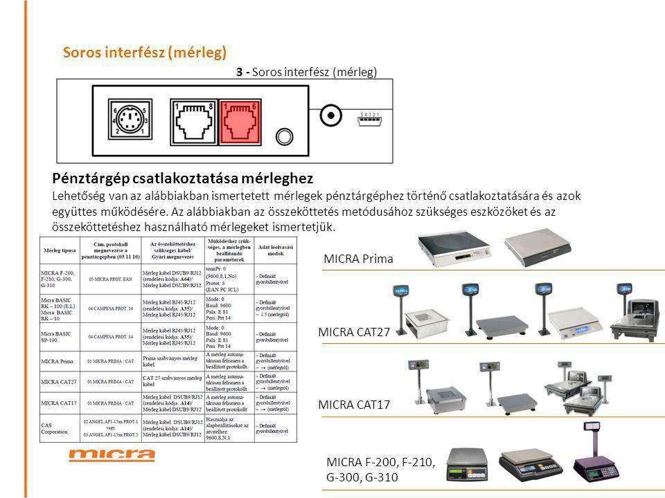 Soros interfész (mérleg) Pénztárgép csatlakoztatása mérleghez Lehetőség van az alábbiakban ismertetett mérlegek pénztárgéphez történő csatlakoztatásár