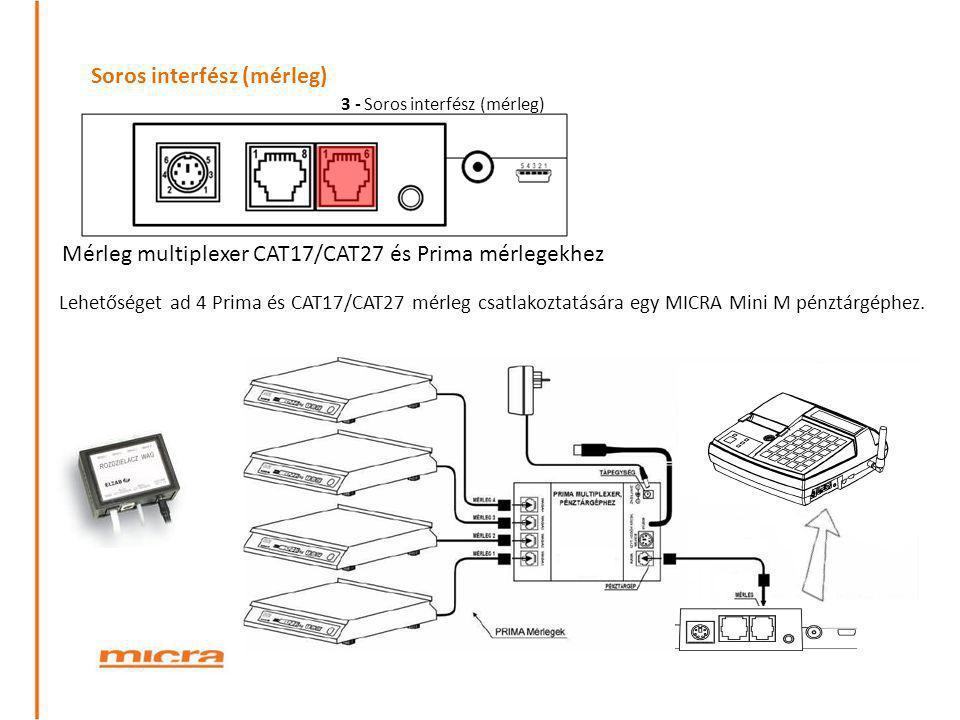 Soros interfész (mérleg) Mérleg multiplexer CAT17/CAT27 és Prima mérlegekhez Lehetőséget ad 4 Prima és CAT17/CAT27 mérleg csatlakoztatására egy MICRA