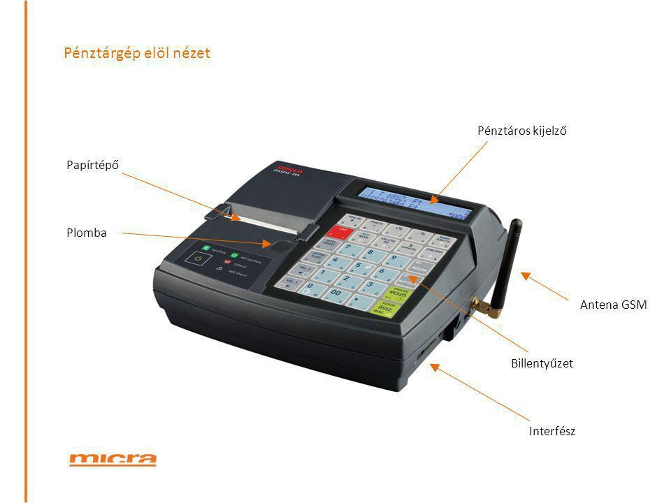 Pénztárgép elöl nézet Pénztáros kijelző Plomba Antena GSM Interfész Billentyűzet Papírtépő