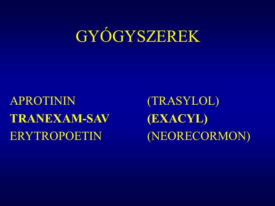 GYÓGYSZEREK APROTININ (TRASYLOL) TRANEXAM-SAV (EXACYL) ERYTROPOETIN (NEORECORMON)
