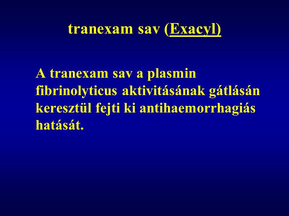 tranexam sav (Exacyl) A tranexam sav a plasmin fibrinolyticus aktivitásának gátlásán keresztül fejti ki antihaemorrhagiás hatását.
