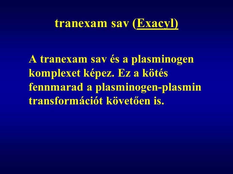 tranexam sav (Exacyl) A tranexam sav és a plasminogen komplexet képez. Ez a kötés fennmarad a plasminogen-plasmin transformációt követően is.