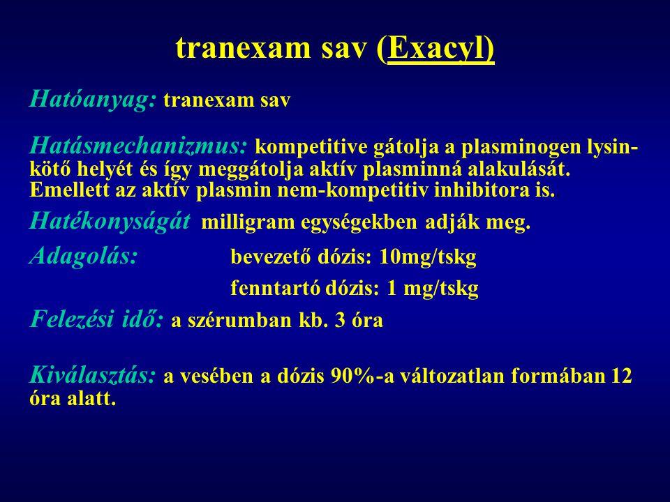 tranexam sav (Exacyl) Hatóanyag: tranexam sav Hatásmechanizmus: kompetitive gátolja a plasminogen lysin- kötő helyét és így meggátolja aktív plasminná