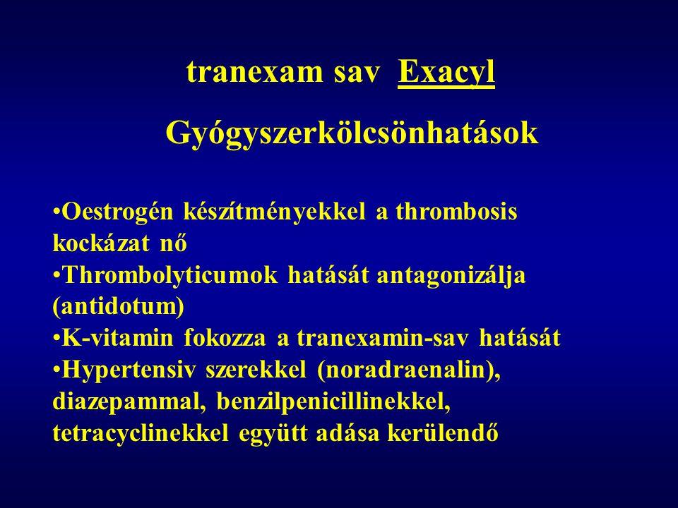 tranexam sav Exacyl Gyógyszerkölcsönhatások •Oestrogén készítményekkel a thrombosis kockázat nő •Thrombolyticumok hatását antagonizálja (antidotum) •K-vitamin fokozza a tranexamin-sav hatását •Hypertensiv szerekkel (noradraenalin), diazepammal, benzilpenicillinekkel, tetracyclinekkel együtt adása kerülendő