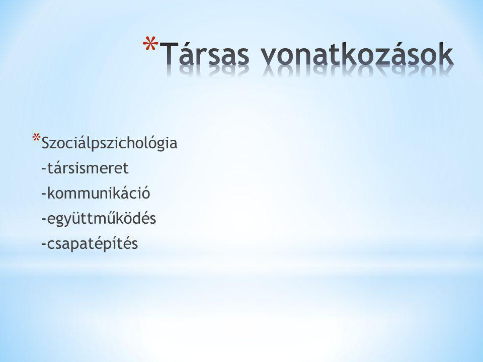 * Szociálpszichológia -társismeret -kommunikáció -együttműködés -csapatépítés