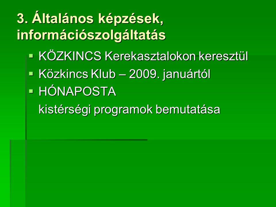 3. Általános képzések, információszolgáltatás  KÖZKINCS Kerekasztalokon keresztül  Közkincs Klub – 2009. januártól  HÓNAPOSTA kistérségi programok