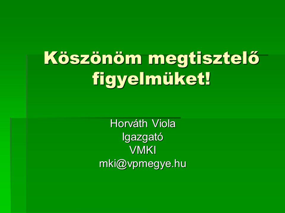 Köszönöm megtisztelő figyelmüket! Horváth Viola IgazgatóVMKImki@vpmegye.hu
