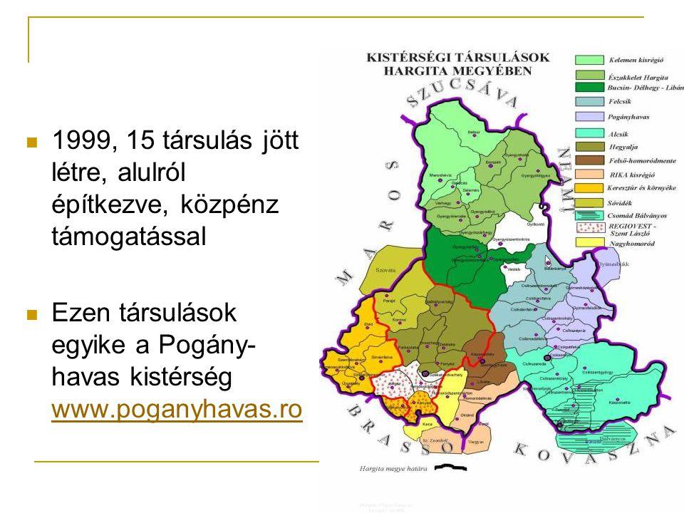  1999, 15 társulás jött létre, alulról építkezve, közpénz támogatással  Ezen társulások egyike a Pogány- havas kistérség www.poganyhavas.ro www.poganyhavas.ro