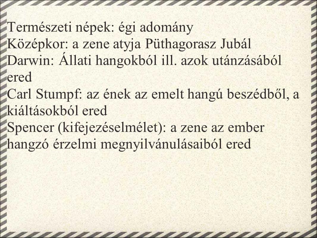 Természeti népek: égi adomány Középkor: a zene atyja Püthagorasz Jubál Darwin: Állati hangokból ill. azok utánzásából ered Carl Stumpf: az ének az eme