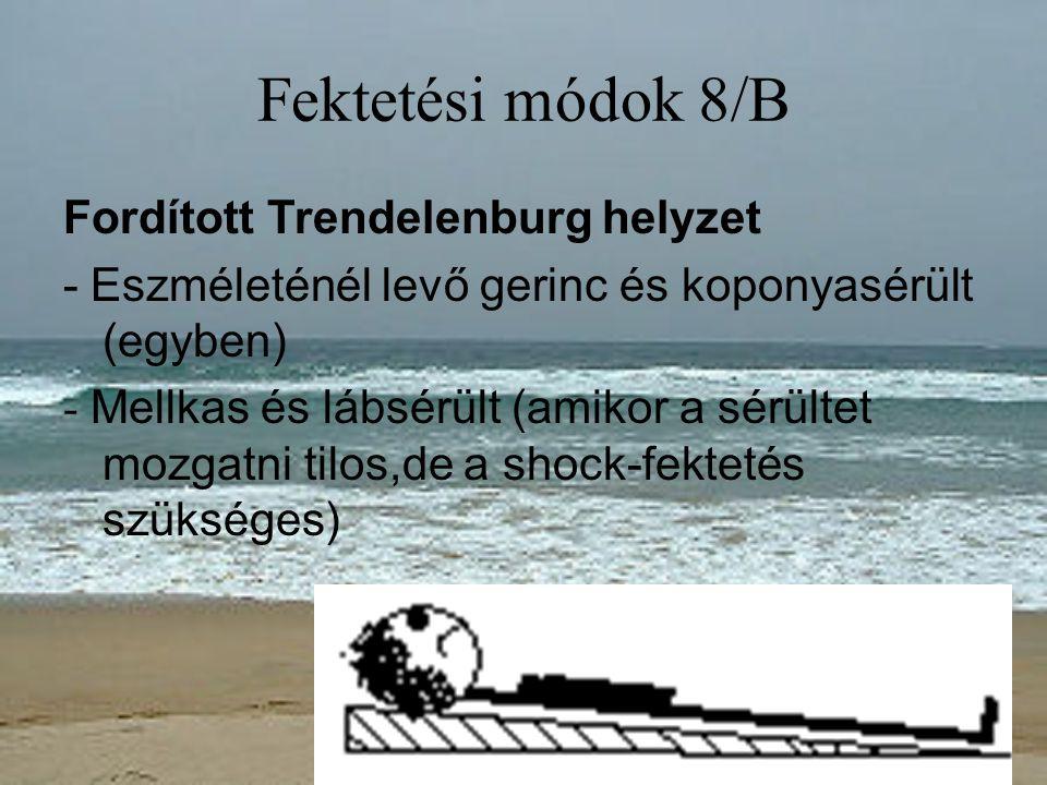Fektetési módok 8/B Fordított Trendelenburg helyzet - Eszméleténél levő gerinc és koponyasérült (egyben) - Mellkas és lábsérült (amikor a sérültet moz