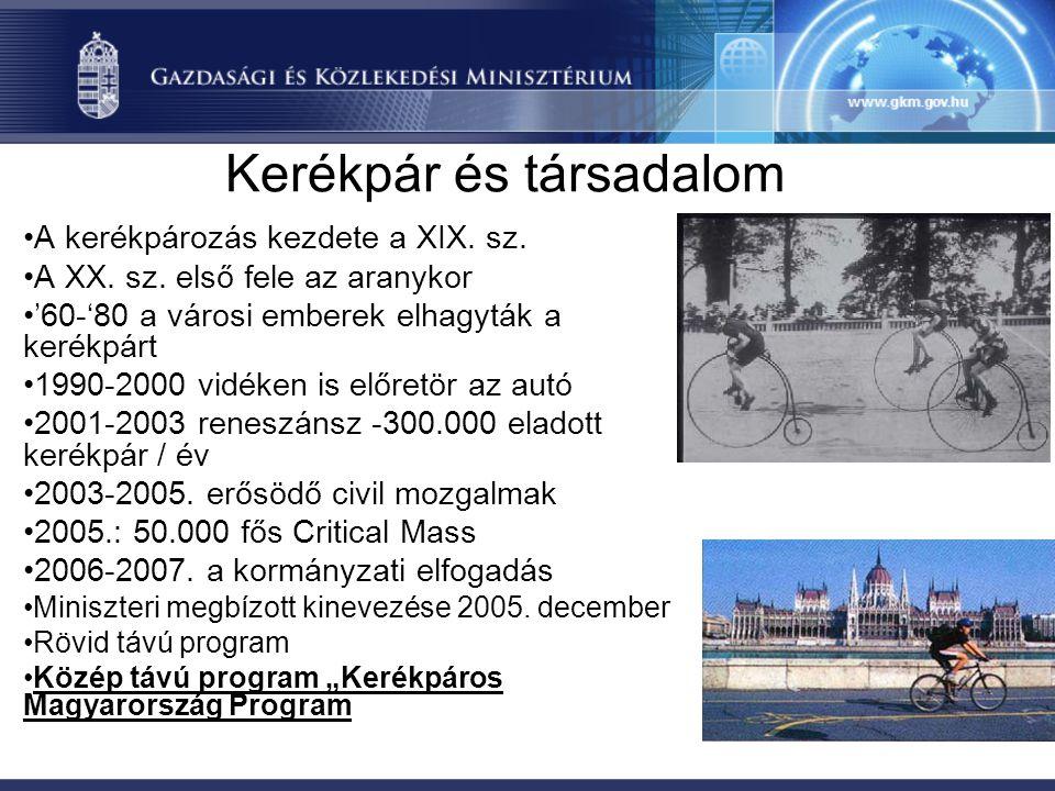 A Kerékpáros Magyarország Program 2007 - 2013 Célok: •Kerékpáros közlekedés részarányának növelése •Kerékpáros turisták számának és az ebből származó bevételek növelése •A kerékpáros balesetek számának csökkentése •A kerékpársportolók és rekreációs kerékpározók számának és eredményességének növelése