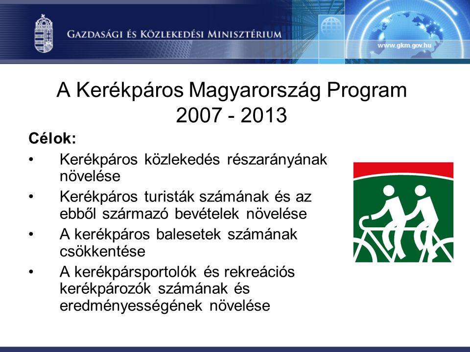 A Kerékpáros Magyarország Program 2007 - 2013 Szakmai területek: •Infrastruktúra fejlesztés •Kerékpáros közlekedés és biztonság •Kerékpáros turizmus •Kerékpársport, rekreáció •Intézményi háttér