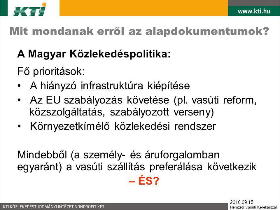 2010.09.15. Nemzeti Vasúti Kerekasztal Mit mondanak erről az alapdokumentumok? A Magyar Közlekedéspolitika: Fő prioritások: • A hiányzó infrastruktúra