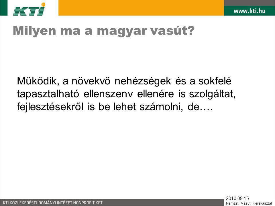 2010.09.15. Nemzeti Vasúti Kerekasztal Milyen ma a magyar vasút? Működik, a növekvő nehézségek és a sokfelé tapasztalható ellenszenv ellenére is szolg