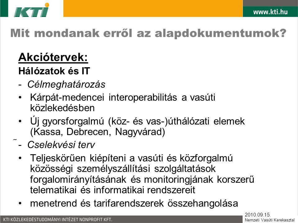 2010.09.15. Nemzeti Vasúti Kerekasztal Mit mondanak erről az alapdokumentumok? Akciótervek: Hálózatok és IT - Célmeghatározás •Kárpát-medencei interop