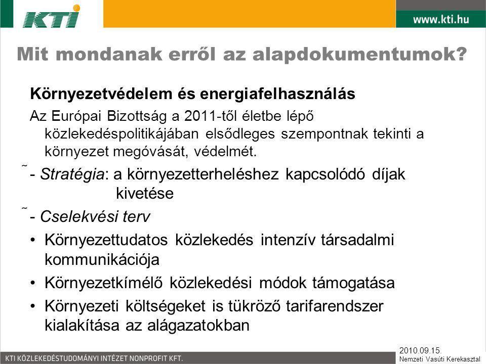2010.09.15. Nemzeti Vasúti Kerekasztal Mit mondanak erről az alapdokumentumok? Környezetvédelem és energiafelhasználás Az Európai Bizottság a 2011-től
