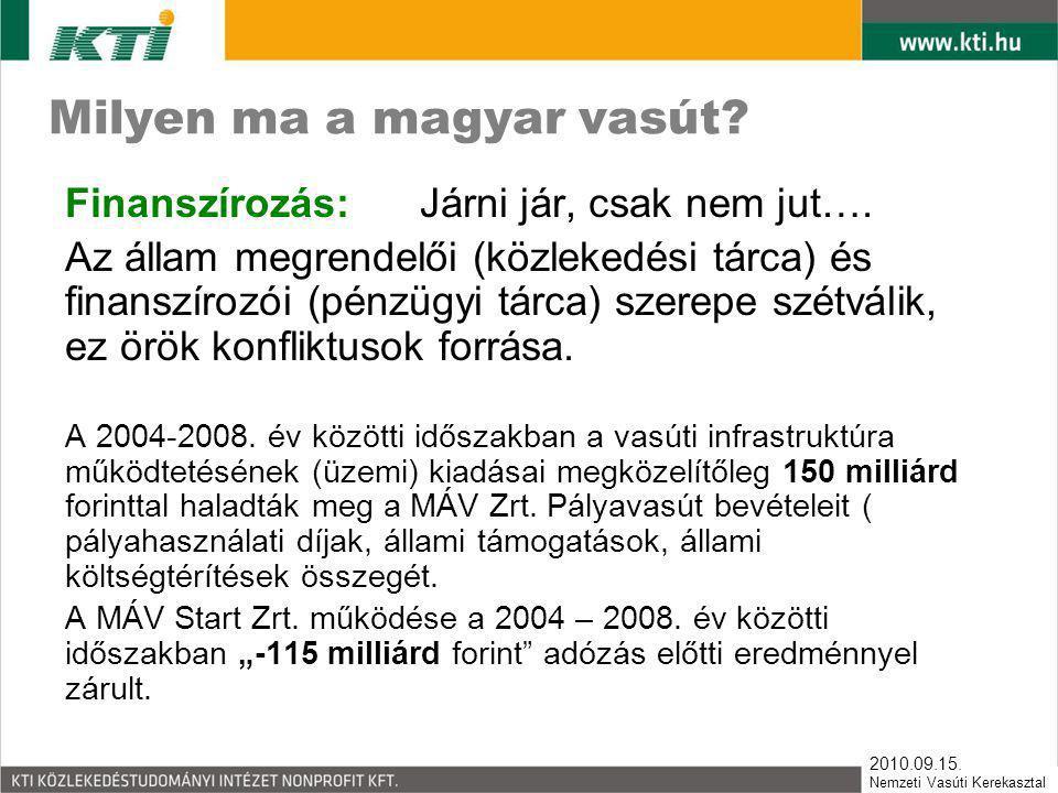 2010.09.15. Nemzeti Vasúti Kerekasztal Milyen ma a magyar vasút? Finanszírozás: Járni jár, csak nem jut…. Az állam megrendelői (közlekedési tárca) és