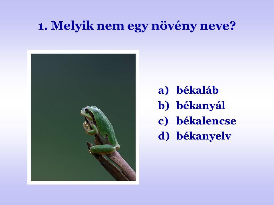 1. Melyik nem egy növény neve? a)békaláb b)békanyál c)békalencse d)békanyelv