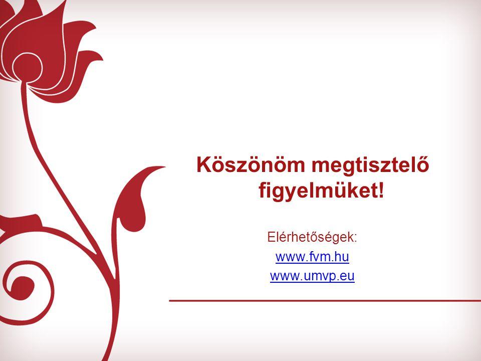Köszönöm megtisztelő figyelmüket! Elérhetőségek: www.fvm.hu www.umvp.eu
