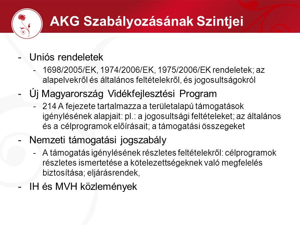 AKG Szabályozásának Szintjei -Uniós rendeletek -1698/2005/EK, 1974/2006/EK, 1975/2006/EK rendeletek; az alapelvekről és általános feltételekről, és jo