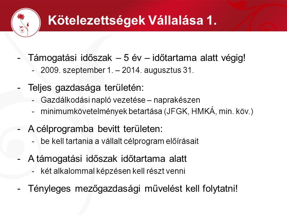 Kötelezettségek Vállalása 1. -Támogatási időszak – 5 év – időtartama alatt végig! -2009. szeptember 1. – 2014. augusztus 31. -Teljes gazdasága terület