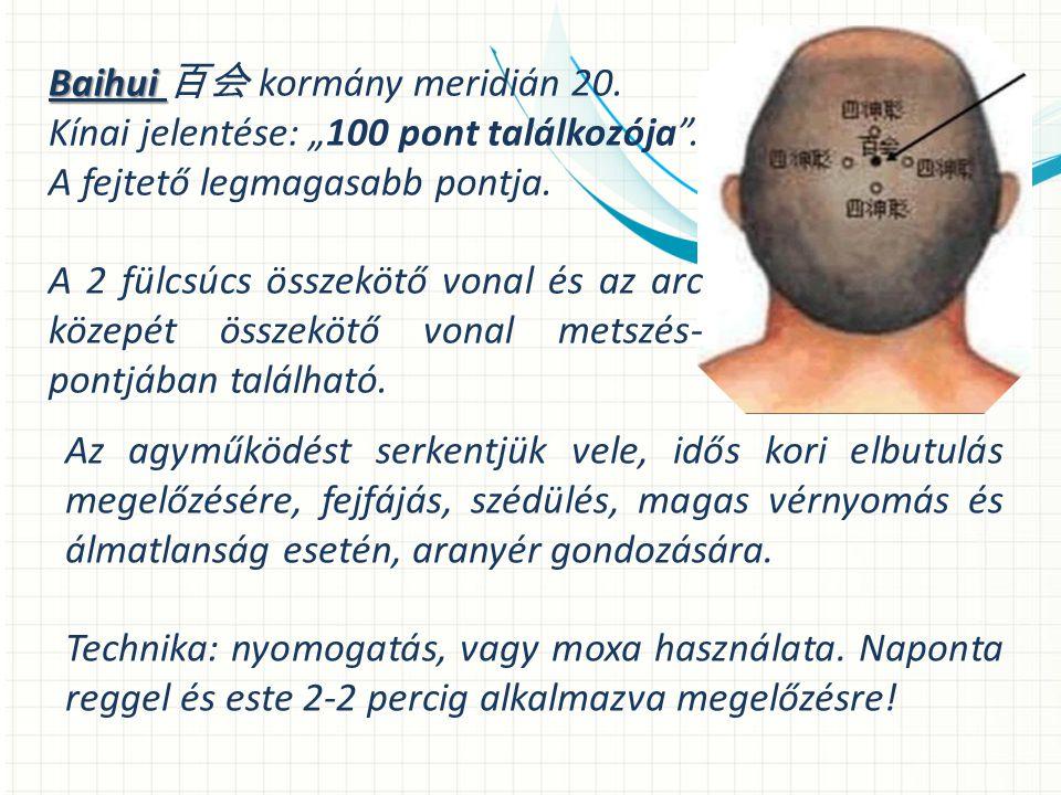 """Baihui Baihui 百会 kormány meridián 20.Kínai jelentése: """"100 pont találkozója ."""