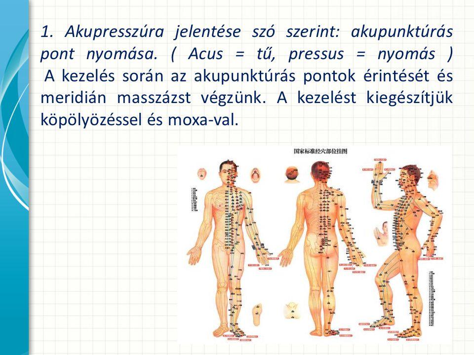 1.Akupresszúra jelentése szó szerint: akupunktúrás pont nyomása.