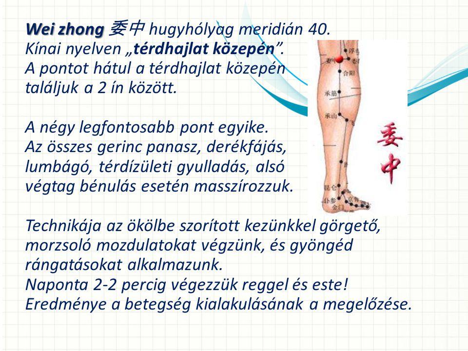 """Wei zhong Wei zhong 委中 hugyhólyag meridián 40.Kínai nyelven """"térdhajlat közepén ."""