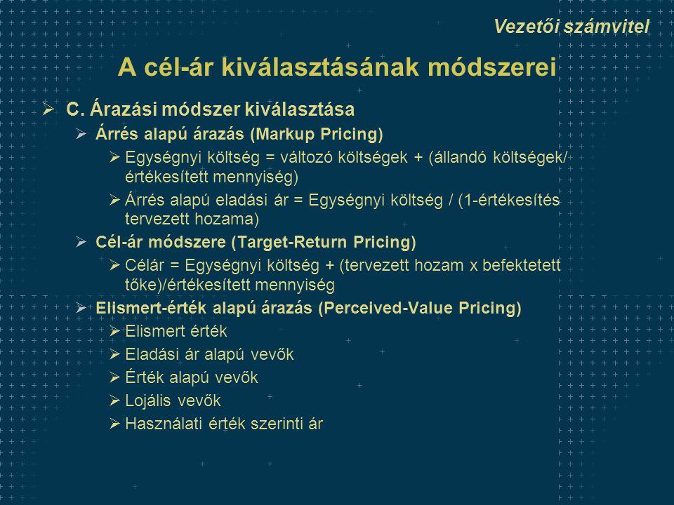 Vezetői számvitel A cél-ár kiválasztásának módszerei  C. Árazási módszer kiválasztása  Árrés alapú árazás (Markup Pricing)  Egységnyi költség = vál