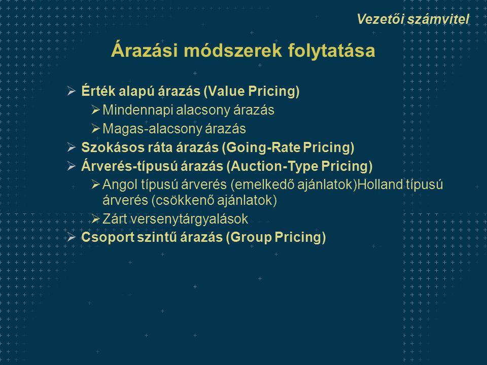 Vezetői számvitel Árazási módszerek folytatása  Érték alapú árazás (Value Pricing)  Mindennapi alacsony árazás  Magas-alacsony árazás  Szokásos ráta árazás (Going-Rate Pricing)  Árverés-típusú árazás (Auction-Type Pricing)  Angol típusú árverés (emelkedő ajánlatok)Holland típusú árverés (csökkenő ajánlatok)  Zárt versenytárgyalások  Csoport szintű árazás (Group Pricing)