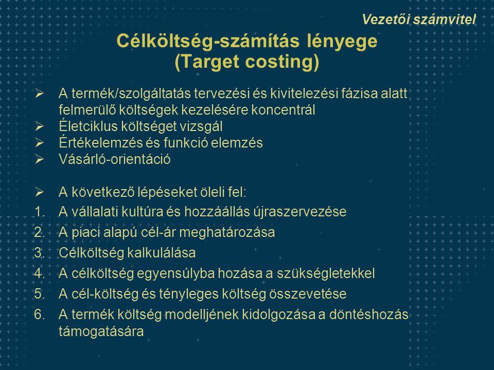 Vezetői számvitel Célköltség-számítás lényege (Target costing)  A termék/szolgáltatás tervezési és kivitelezési fázisa alatt felmerülő költségek kezelésére koncentrál  Életciklus költséget vizsgál  Értékelemzés és funkció elemzés  Vásárló-orientáció  A következő lépéseket öleli fel: 1.A vállalati kultúra és hozzáállás újraszervezése 2.A piaci alapú cél-ár meghatározása 3.Célköltség kalkulálása 4.A célköltség egyensúlyba hozása a szükségletekkel 5.A cél-költség és tényleges költség összevetése 6.A termék költség modelljének kidolgozása a döntéshozás támogatására