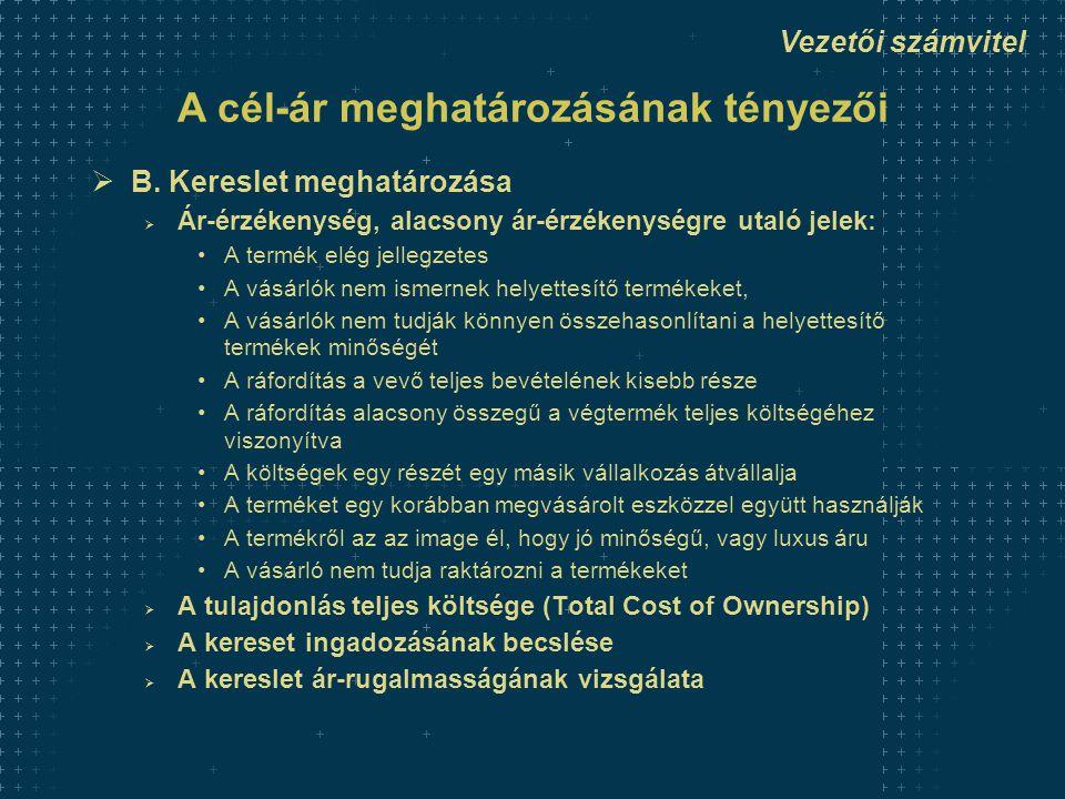 Vezetői számvitel A cél-ár meghatározásának tényezői  B. Kereslet meghatározása  Ár-érzékenység, alacsony ár-érzékenységre utaló jelek: •A termék el
