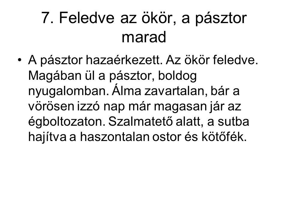 7. Feledve az ökör, a pásztor marad •A pásztor hazaérkezett. Az ökör feledve. Magában ül a pásztor, boldog nyugalomban. Álma zavartalan, bár a vörösen