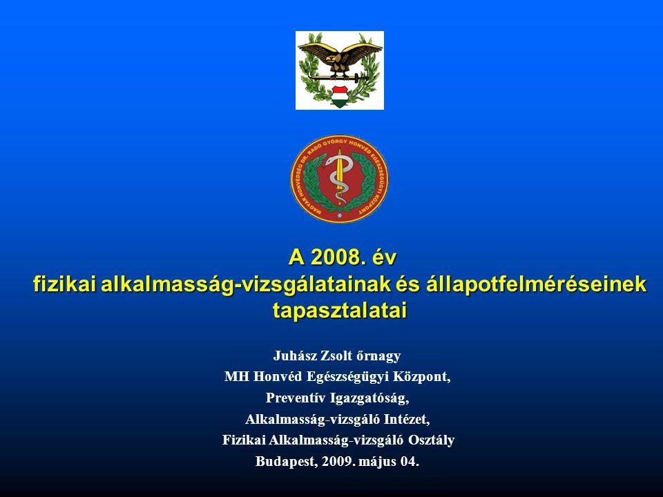 Az előadás vázlata •Rövid történeti áttekintés •Néhány NATO tagország fizikai felmérési metodikája •A fizikai alkalmasság-vizsgálattal és állapot felméréssel kapcsolatos néhány probléma •A fizikai alkalmasság-vizsgálat jelenleg alkalmazott mozgásformái a Magyar Honvédségben •Fizikai alkalmasság-vizsgálatok számszerű megoszlása néhány főbb kategória alapján (2008) •Fizikai alkalmasság-vizsgálatok számszerű megoszlása a minősítések alapján (2008) •A szerződéses, a külföldi katonai szolgálatra és az egyéb más kategóriába tartozók fizikai alkalmasság-vizsgálatának számszerű megoszlása a minősítések alapján •2008-ban vizsgált (fekvőtámasz, felülés, 3200 méter síkfutás) férfiak (3425 fő) antropometriai mérési eredményei •2008-ban vizsgált (fekvőtámasz, felülés, 3200 méter síkfutás) férfiak (3425 fő) eredményei •2008-ban vizsgált (fekvőtámasz, felülés, kerékpár ergometria) férfiak (463 fő)antropometriai mérési eredményei •2008-ban vizsgált (fekvőtámasz, felülés, kerékpár ergometria) férfiak (463 fő) eredményei •A várható új fizikai követelményrendszer