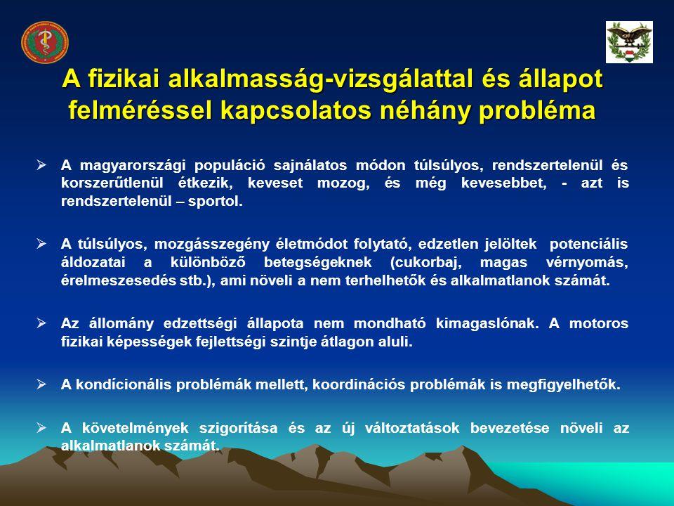 A fizikai alkalmasság-vizsgálattal és állapot felméréssel kapcsolatos néhány probléma  A magyarországi populáció sajnálatos módon túlsúlyos, rendszer