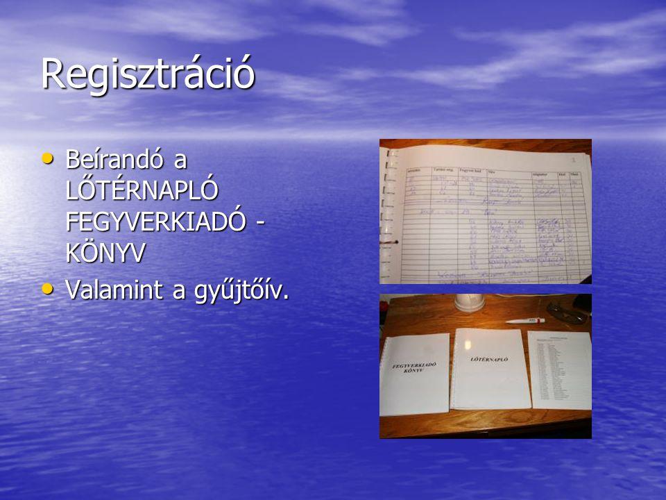 Regisztráció • Beírandó a LŐTÉRNAPLÓ FEGYVERKIADÓ - KÖNYV • Valamint a gyűjtőív.