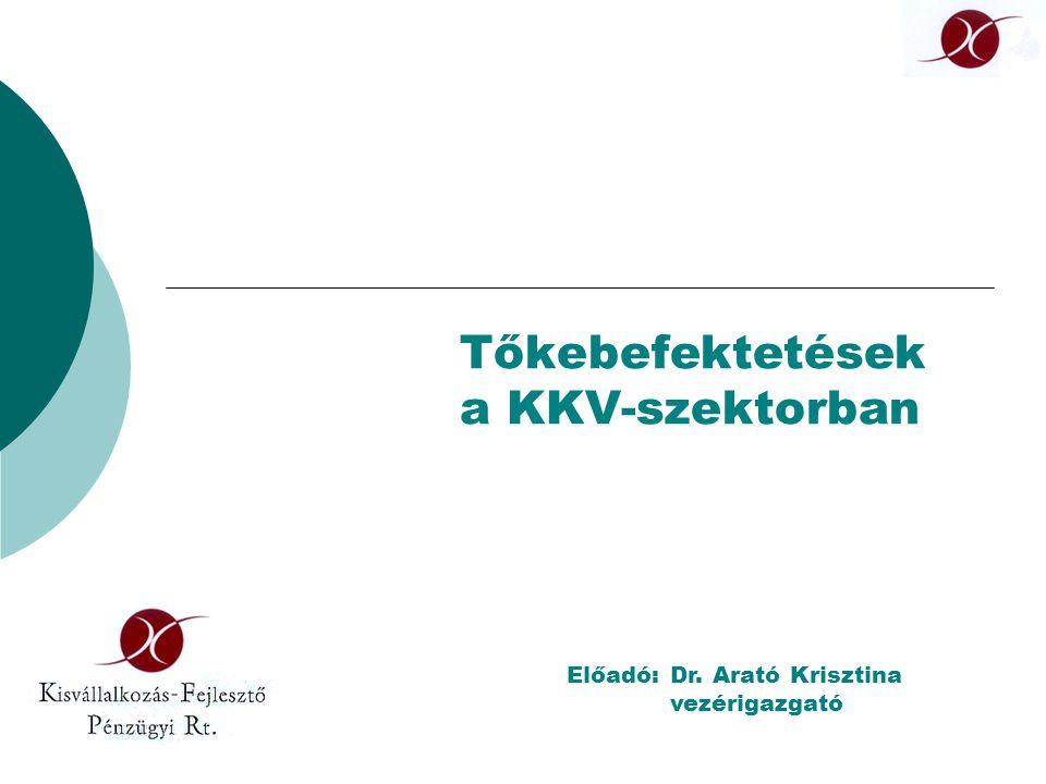 Tőkebefektetések a KKV-szektorban Előadó:Dr. Arató Krisztina vezérigazgató